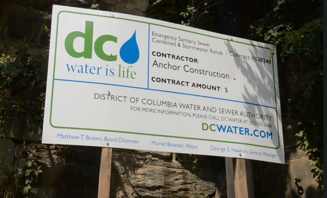 DC Water sign for Anchor Construction project 3600 Water Street