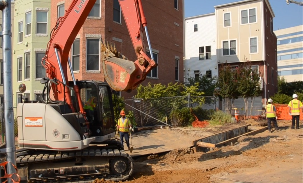 Construction equipment digging up ground in SE DC