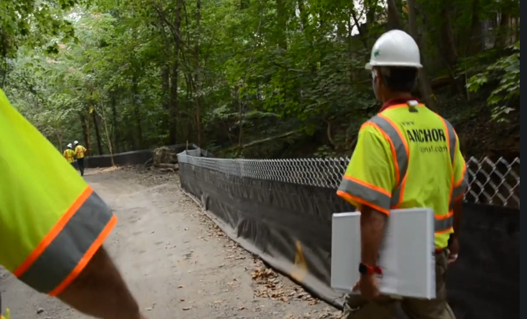 Klingle Valley Trail construction workers walking down path