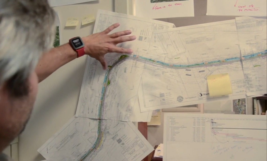 Anchor workers reviewing Klingle Valley Trail map